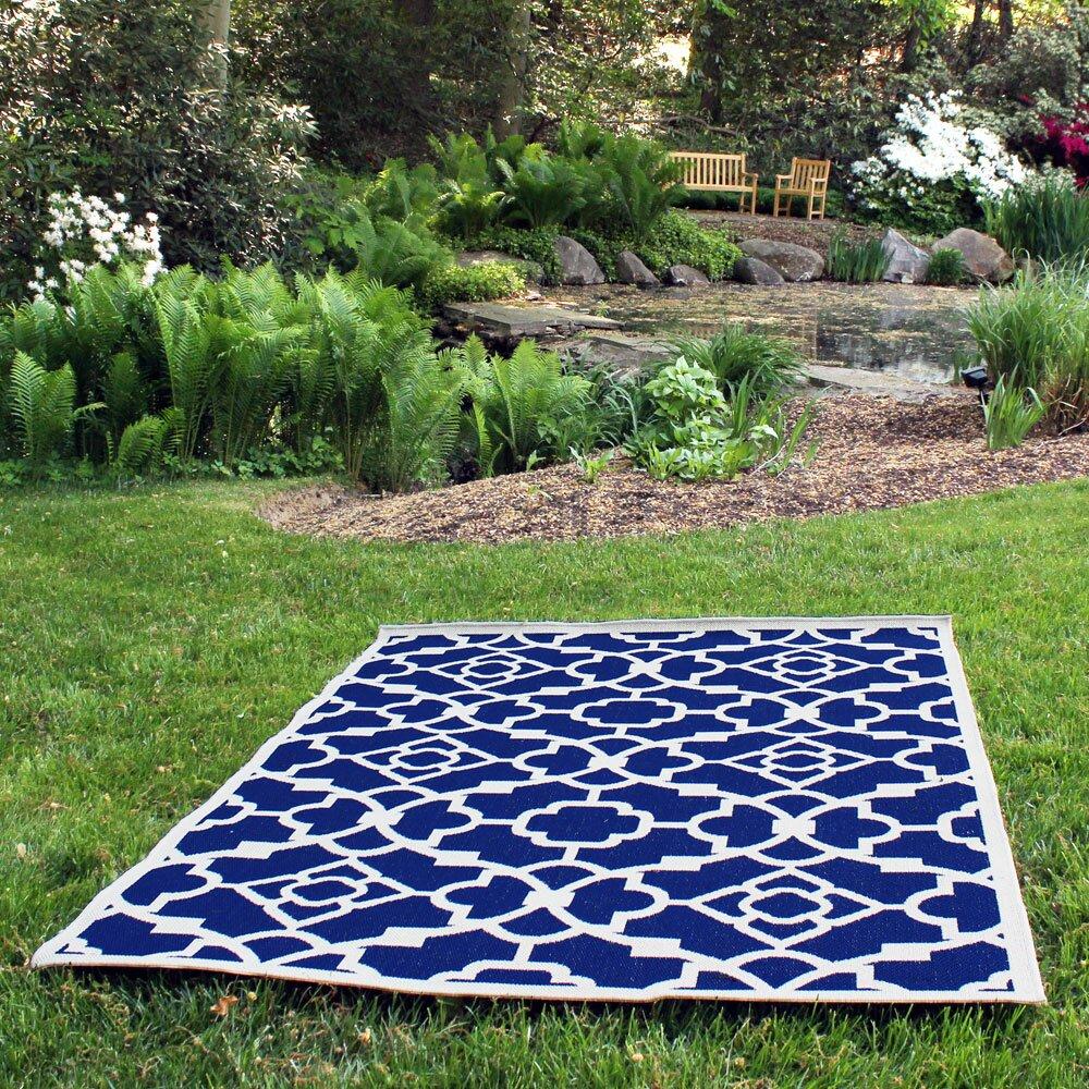 Budgeindustries monaco royal blue indoor outdoor area rug for Blue indoor outdoor rug