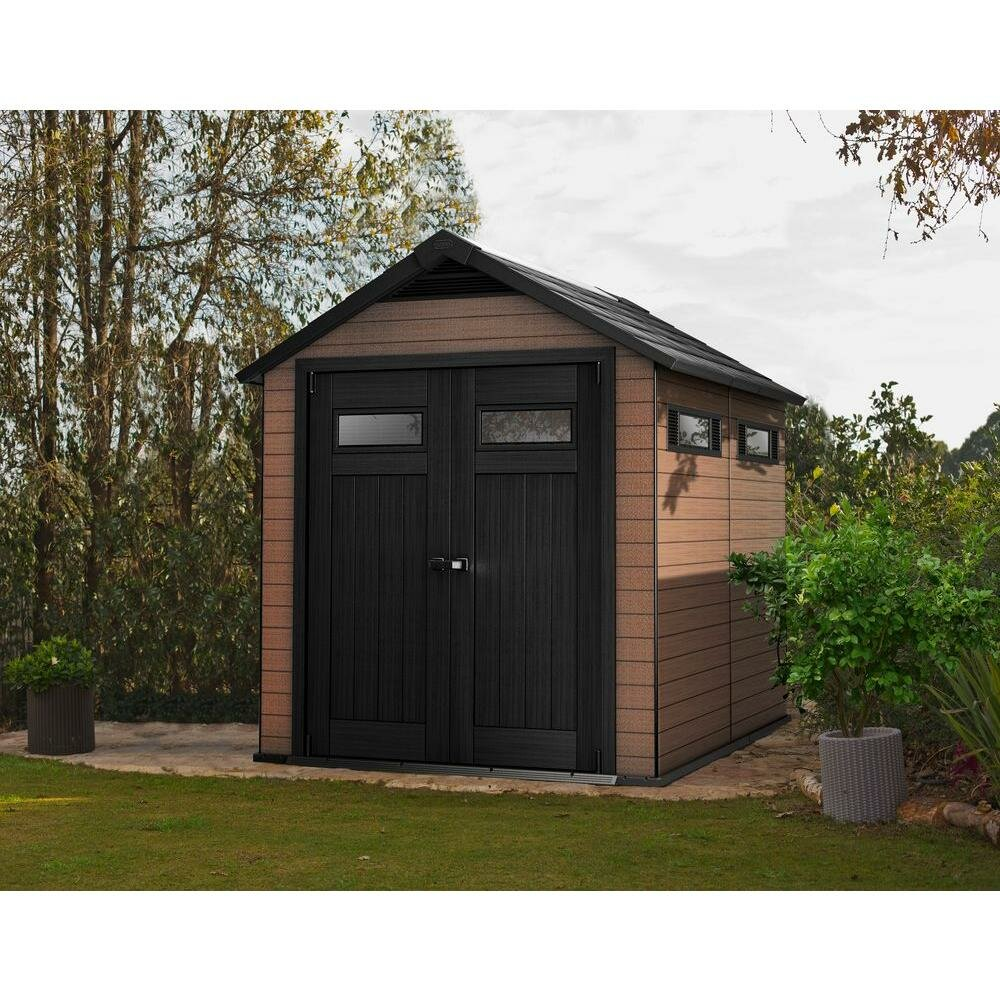 Keter fusion 7 5 ft w x 9 4 ft d composite storage shed for Garden shed 5 x 4