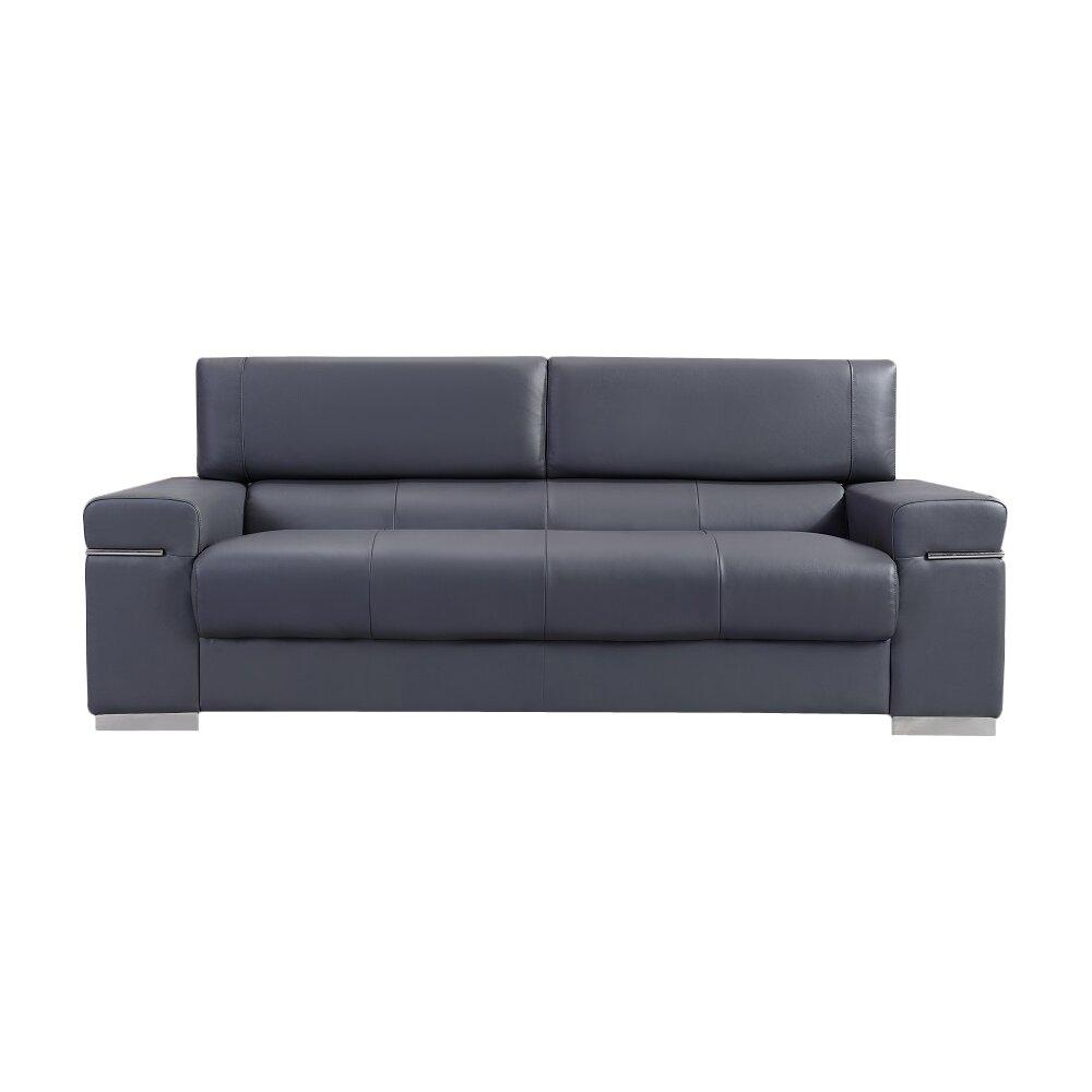 Orlando Brown Leather Modern Sectional Sofa: Wade Logan Orlando Leather Sofa & Reviews
