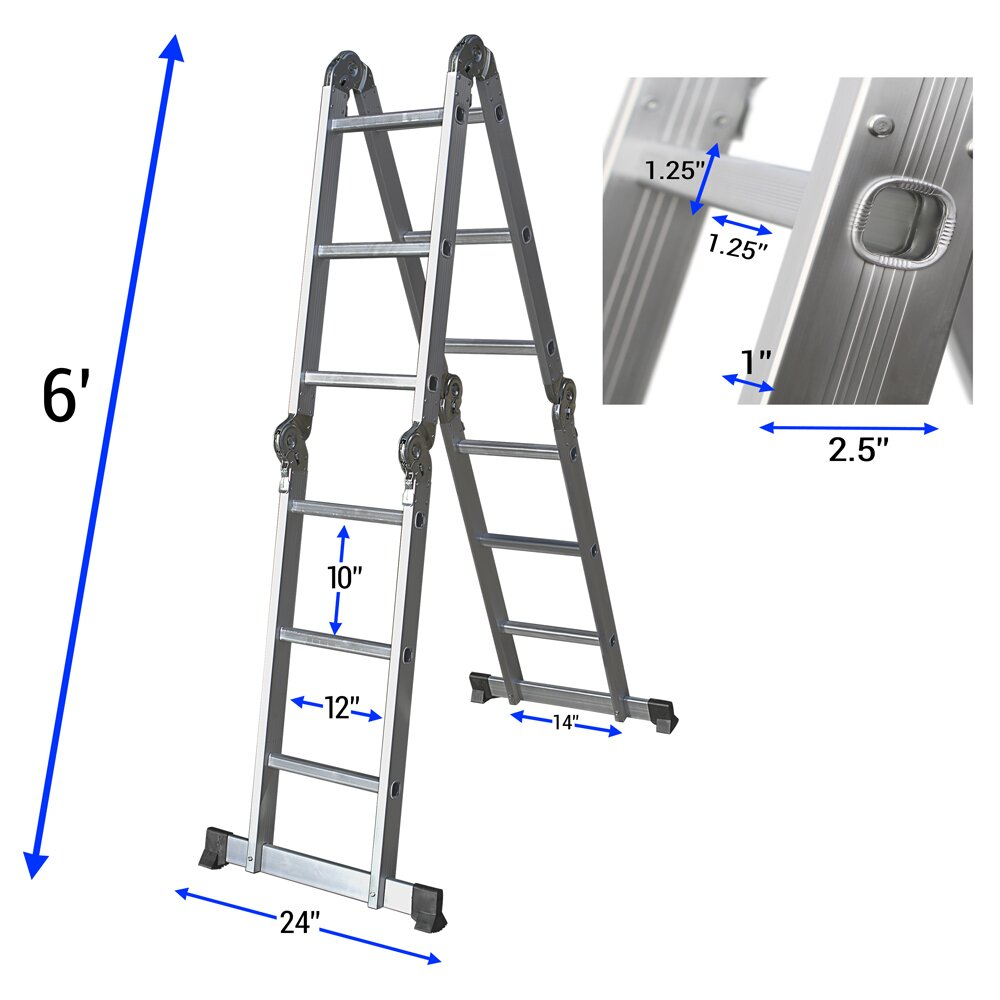 Oxgord 12 5 Ft Aluminum Multi Position Ladder Amp Reviews