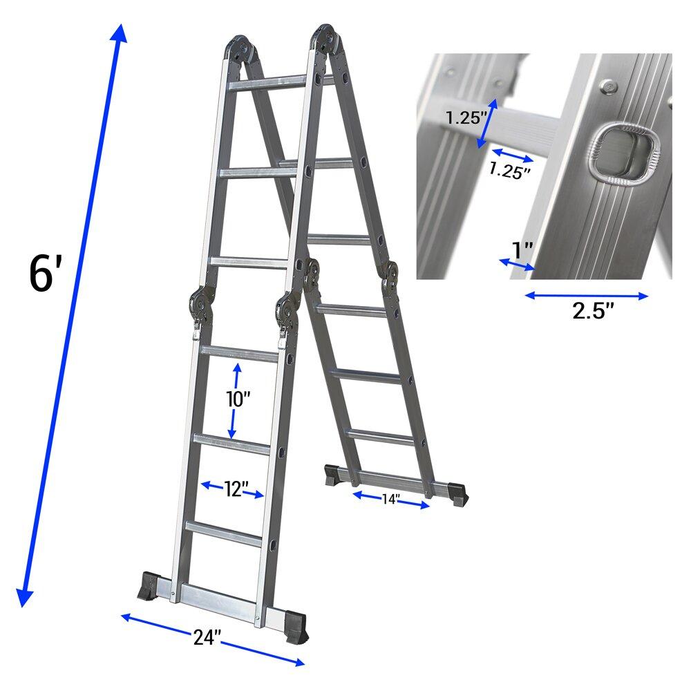 Oxgord 12 5 Ft Aluminum Multi Position Ladder Amp Reviews