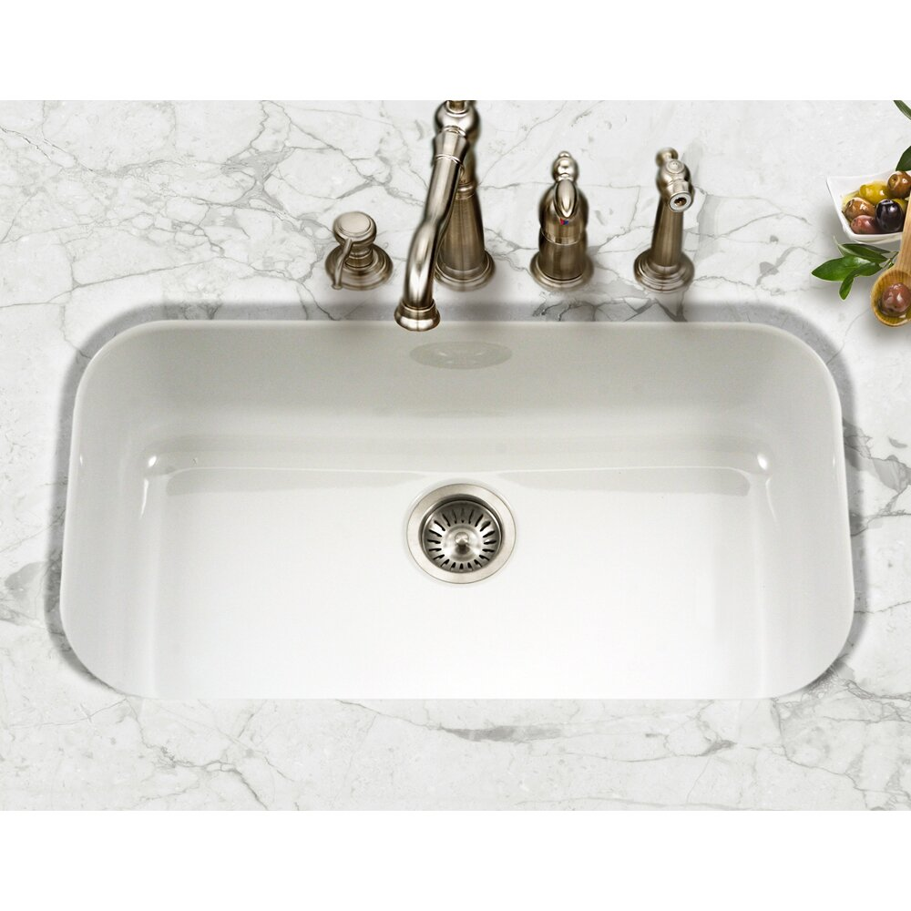 Houzer Porcela 30 9 X Porcelain Enamel Steel Gourmet Undermount Single Kitchen Sink