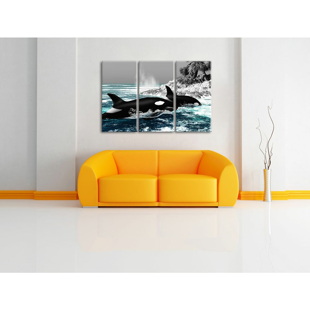 pixxprint 3 tlg leinwandbilder set sch ne orcas vor insel fotodruck. Black Bedroom Furniture Sets. Home Design Ideas