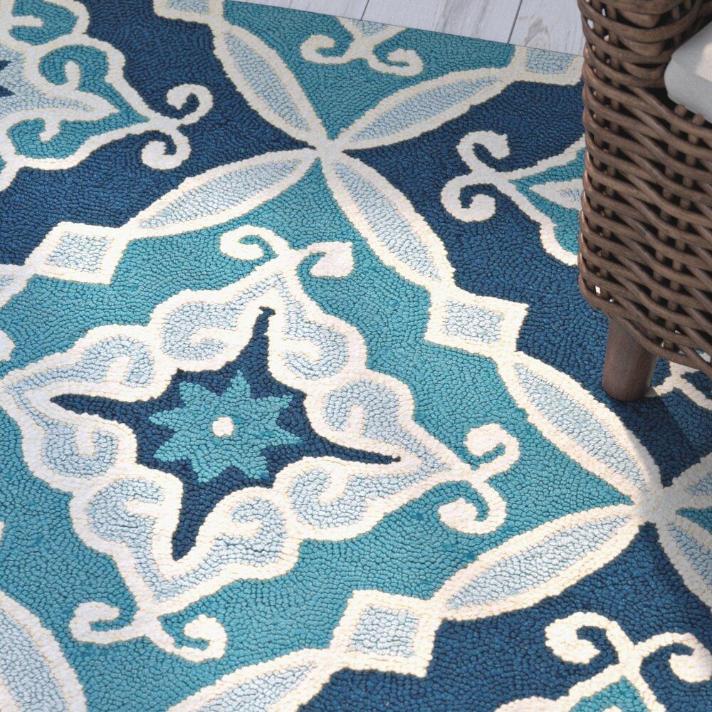 Beachcrest Home Bennington Hand Woven Blue Indoor Outdoor