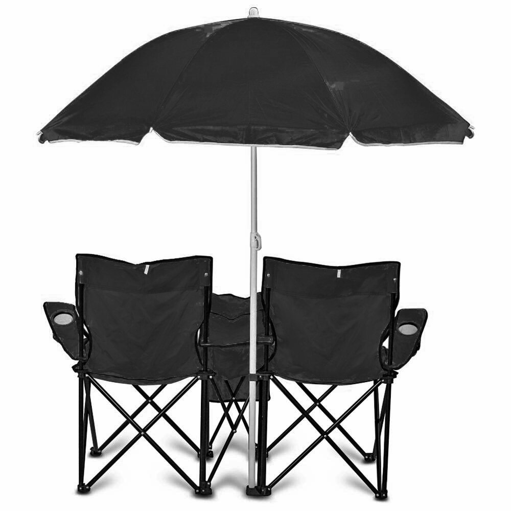 Camping chairs with umbrella - Goteam Portable Double Folding Camping Chair