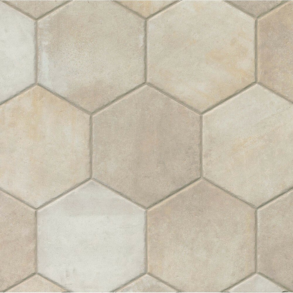 Gsmt Tribal 13 5 Quot X 13 5 Quot Porcelain Hexagon Tile In Ivory