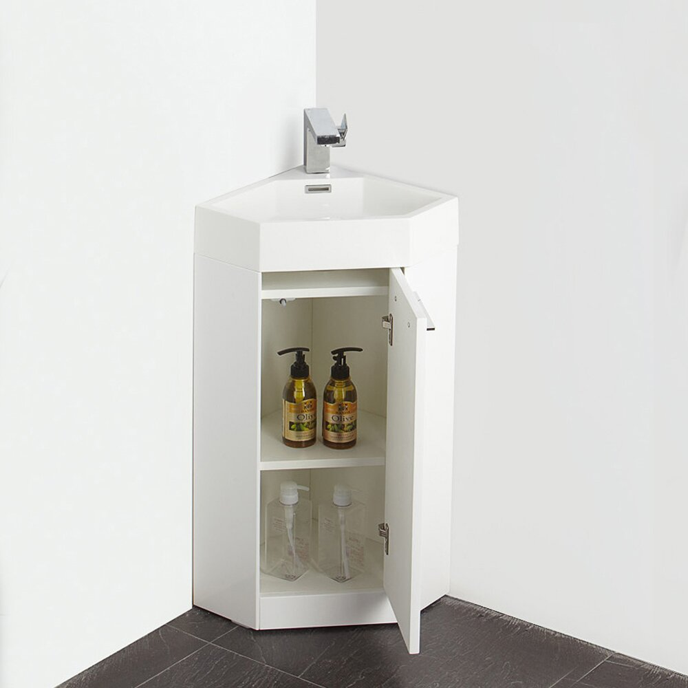 Fresca Lucida 14 Single Coda Modern Corner Bathroom Vanity Set Reviews