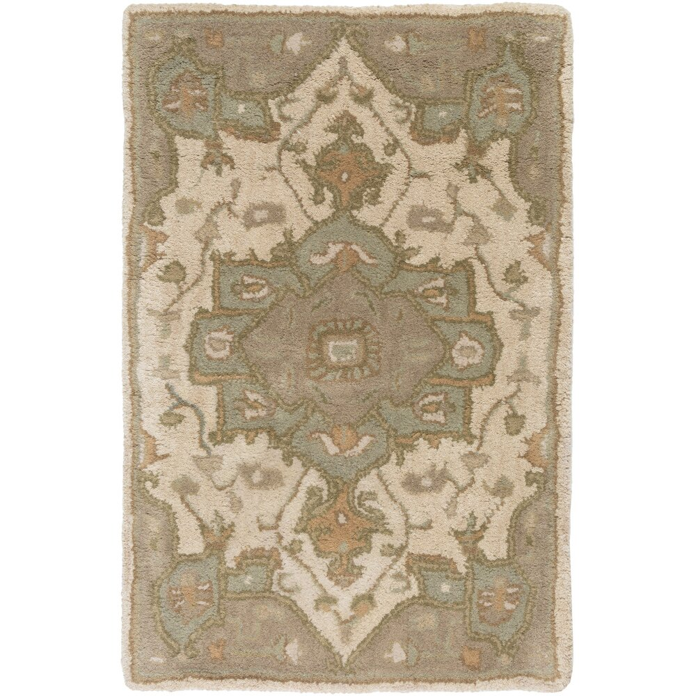 Colmar Moss & Beige Oriental Wool Hand-Tufted Area Rug