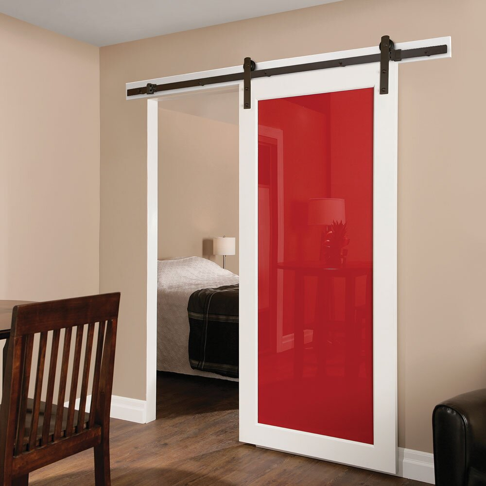Erias home designs straight strap sliding barn door for Barn doors and hardware reviews