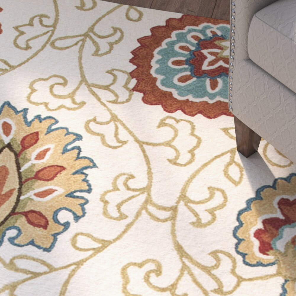 Charlton Home Bellbrook Hand-Tufted Ivory/Orange Area Rug u0026 Reviews : Wayfair.ca