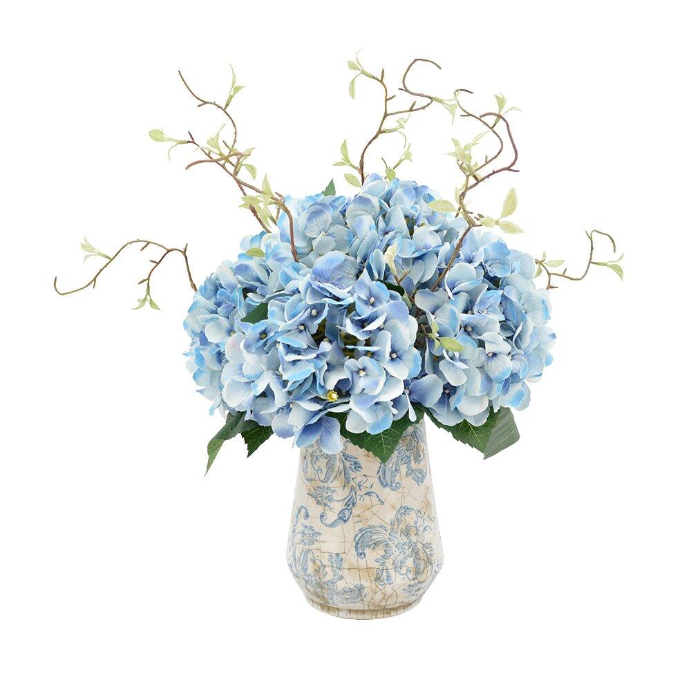 Hydrangea Floral Arrangements With Vines In Rustic Vase