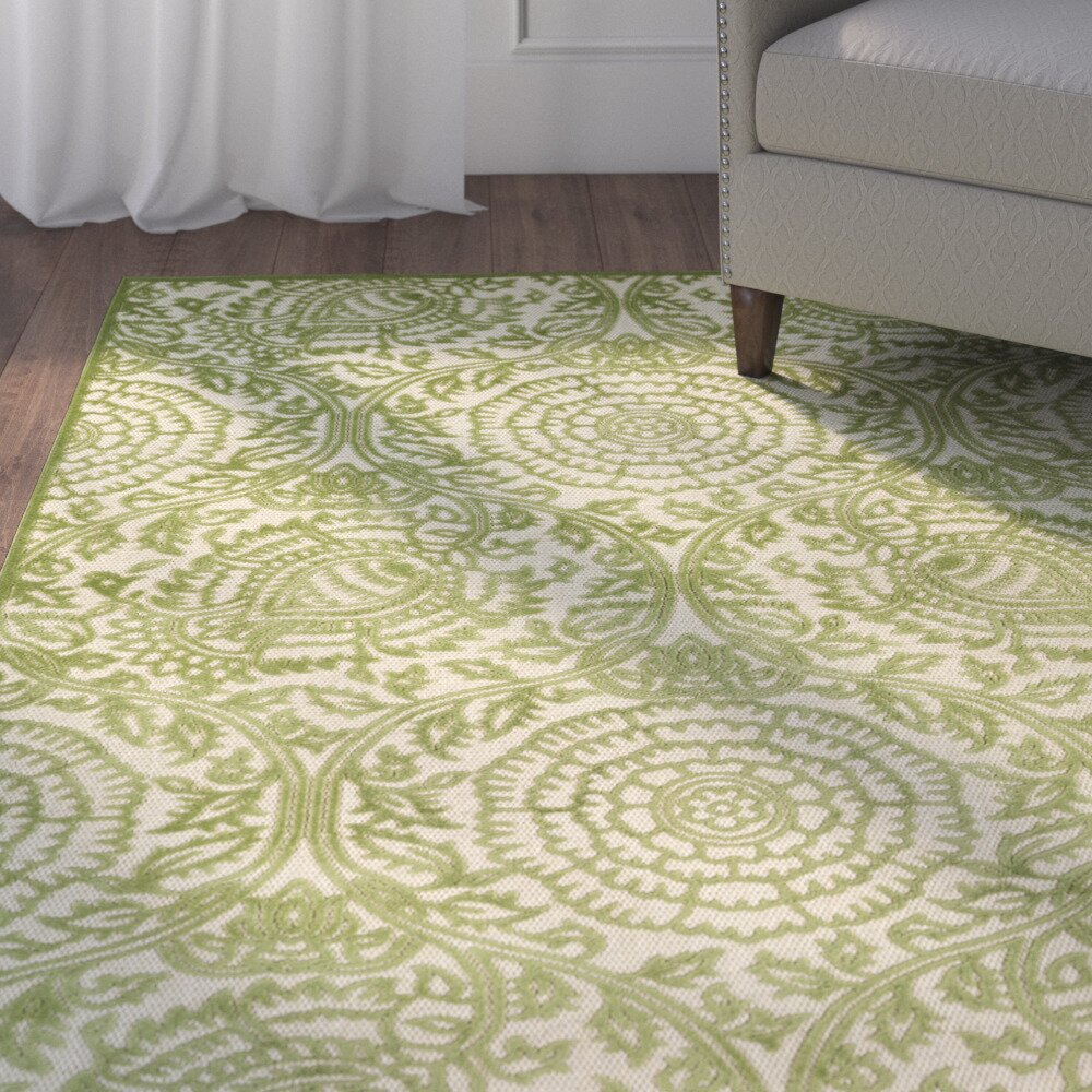 Charlton home covedale hand woven green indoor outdoor for Woven vinyl outdoor rugs