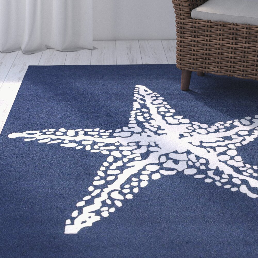 Dog Themed Outdoor Rugs: Breakwater Bay Bay Hill Layne Blue Marine Indoor/Outdoor