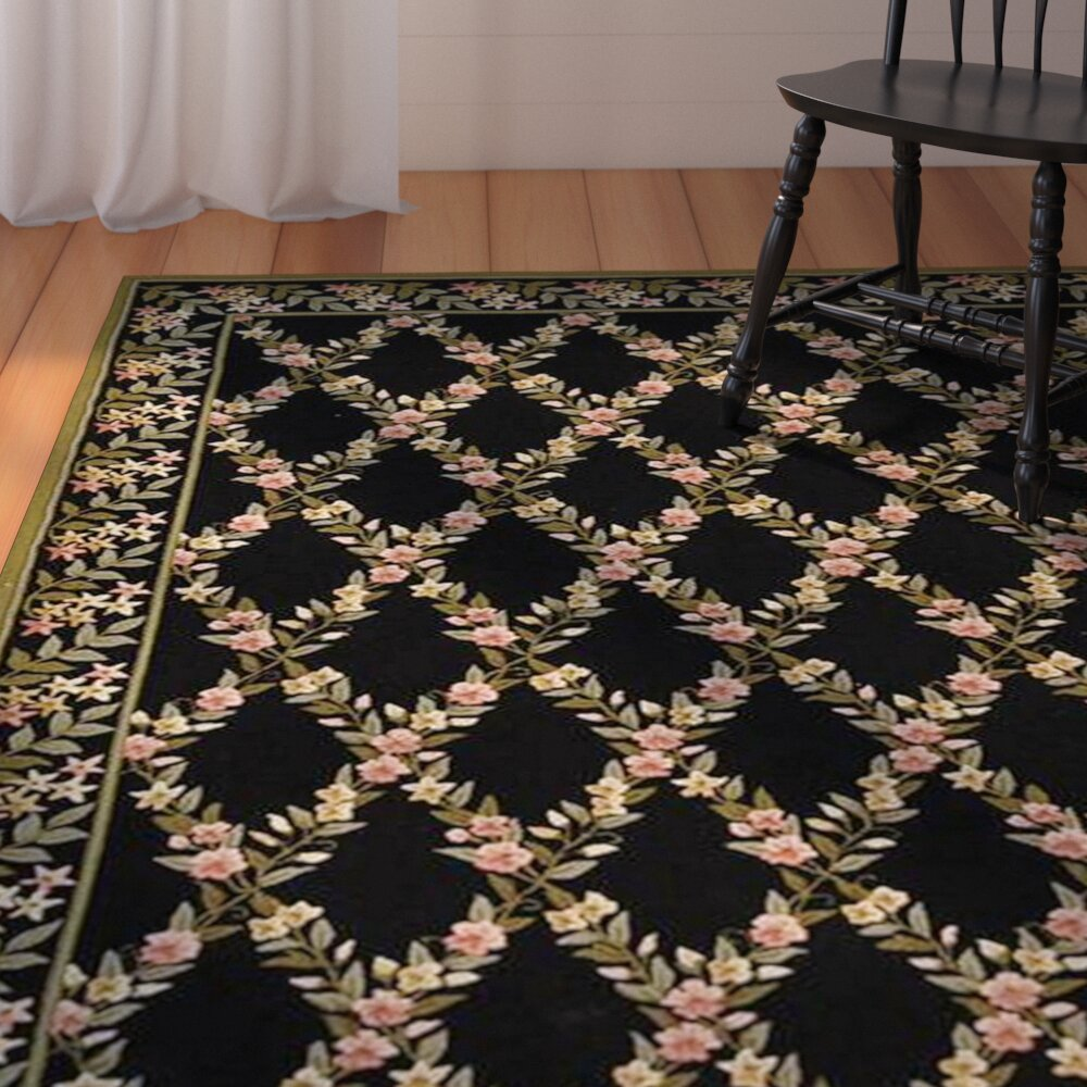 August Grove Pipers Black/Green Area Rug