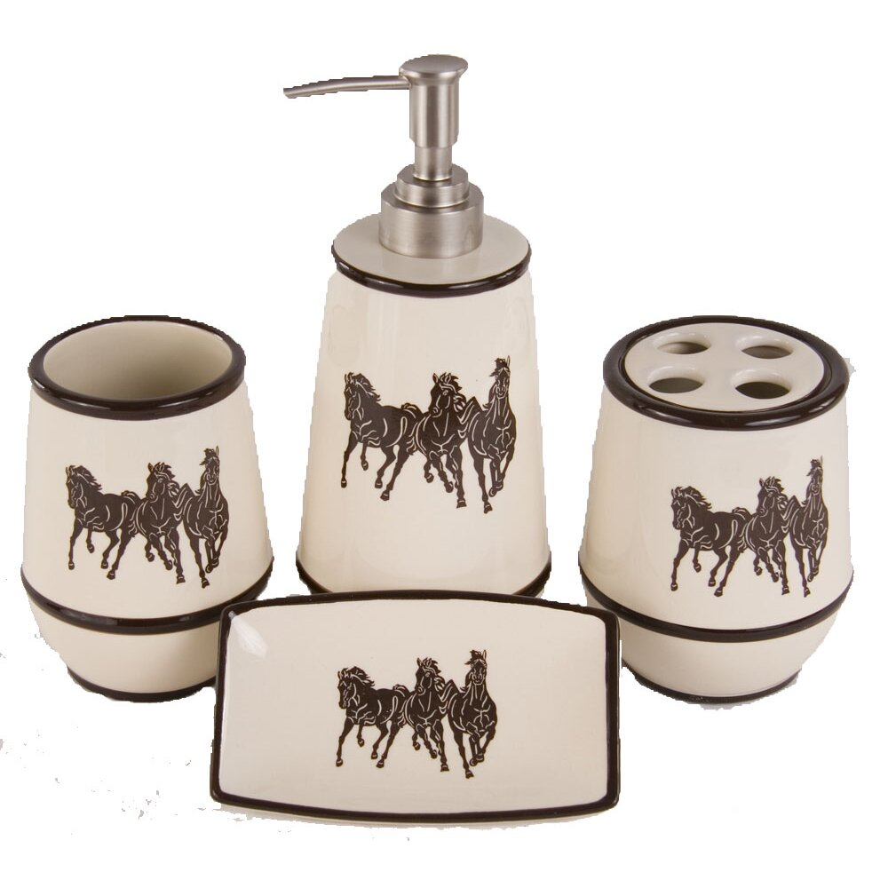 Hiend accents three horses 4 piece bathroom accessory set for Three piece bathroom