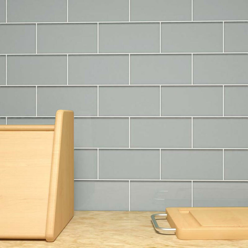 "Giorbello 3"" X 6"" Glass Subway Tile In Gray & Reviews"