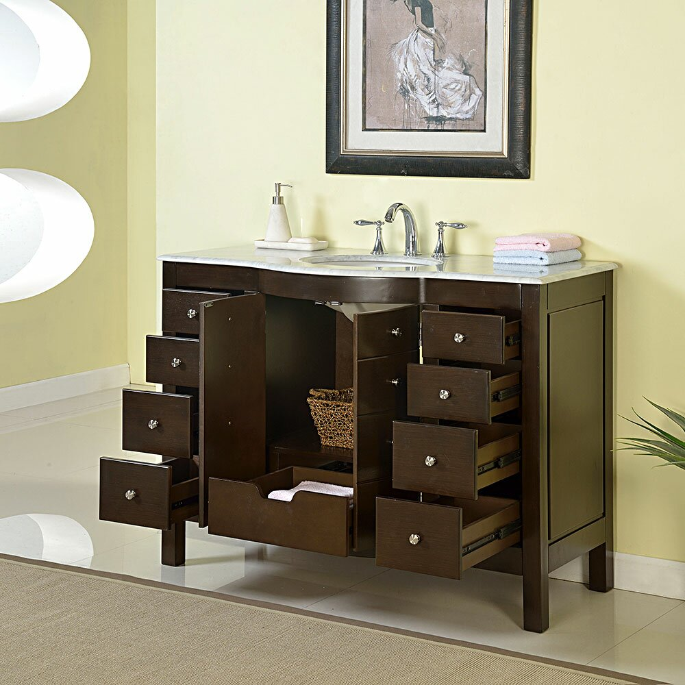 silkroad exclusive prima 48 single bathroom vanity set reviews wayfair. Black Bedroom Furniture Sets. Home Design Ideas