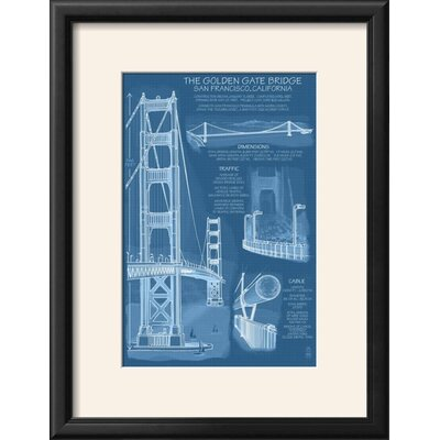 Williston forge san francisco ca golden gate bridge technical san francisco ca golden gate bridge technical blueprint framed vintage advertisement malvernweather Image collections