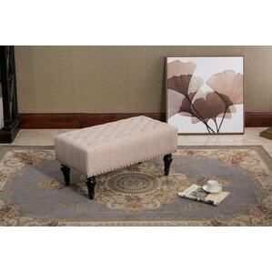 Vanhorne Taupe Tufted Fabric Ottoman by Alcott Hill