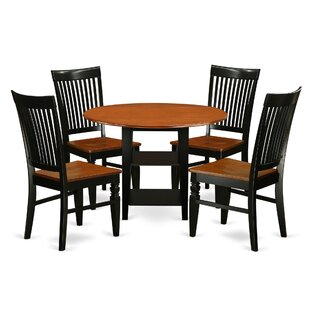 Tyshawn 5 Piece Drop Leaf Breakfast Nook Solid Wood Dining Set Modern