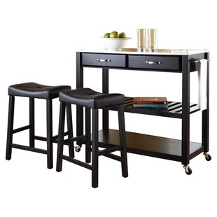 Hedon 3 Piece Kitchen Island Set with Stainless Steel Top
