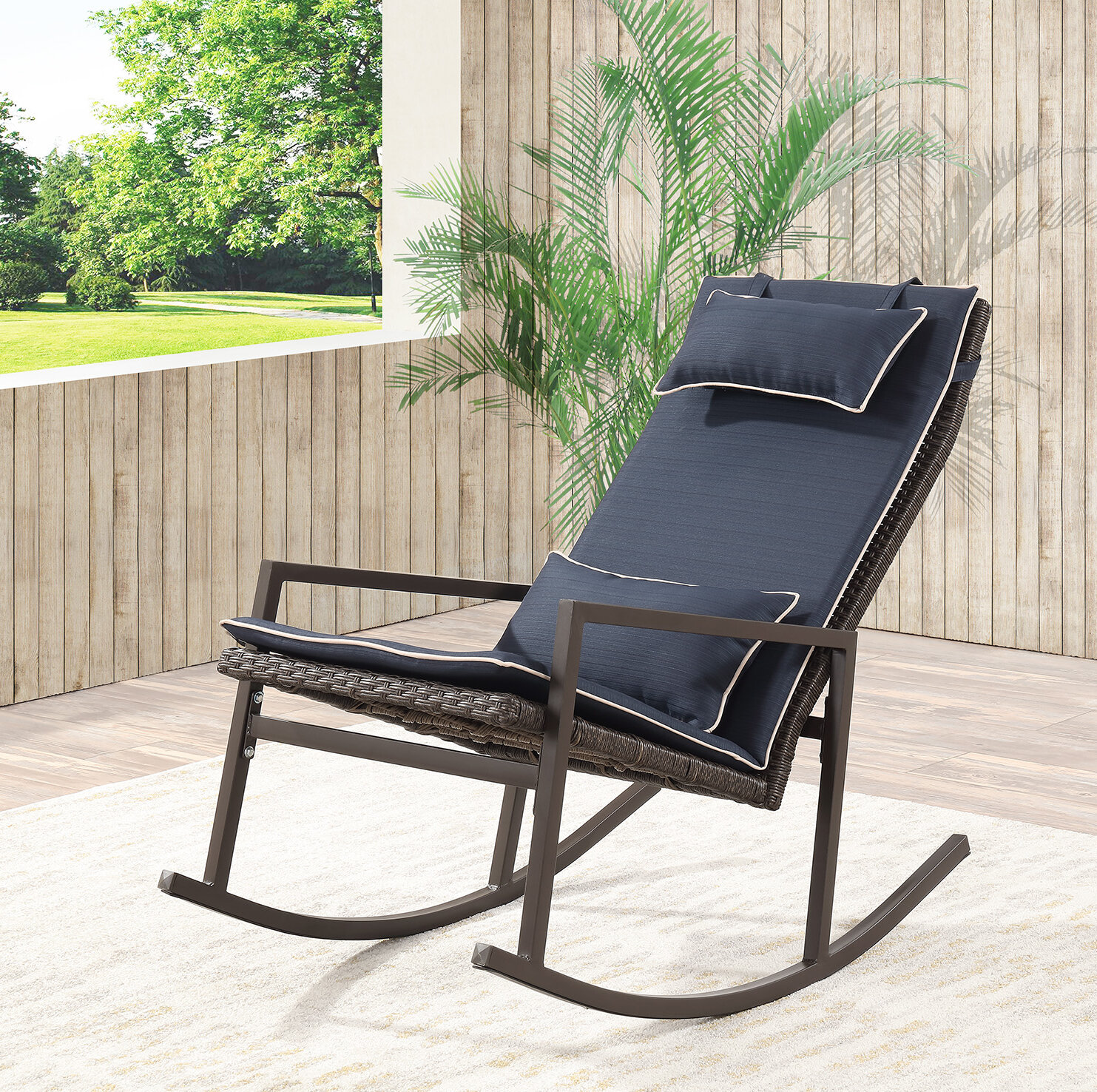 Longs Tides Tremberth Outdoor Rocking Chair With Cushion Reviews Wayfair