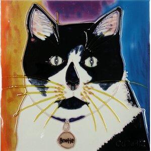Cat in Black/White Tile Wall Decor