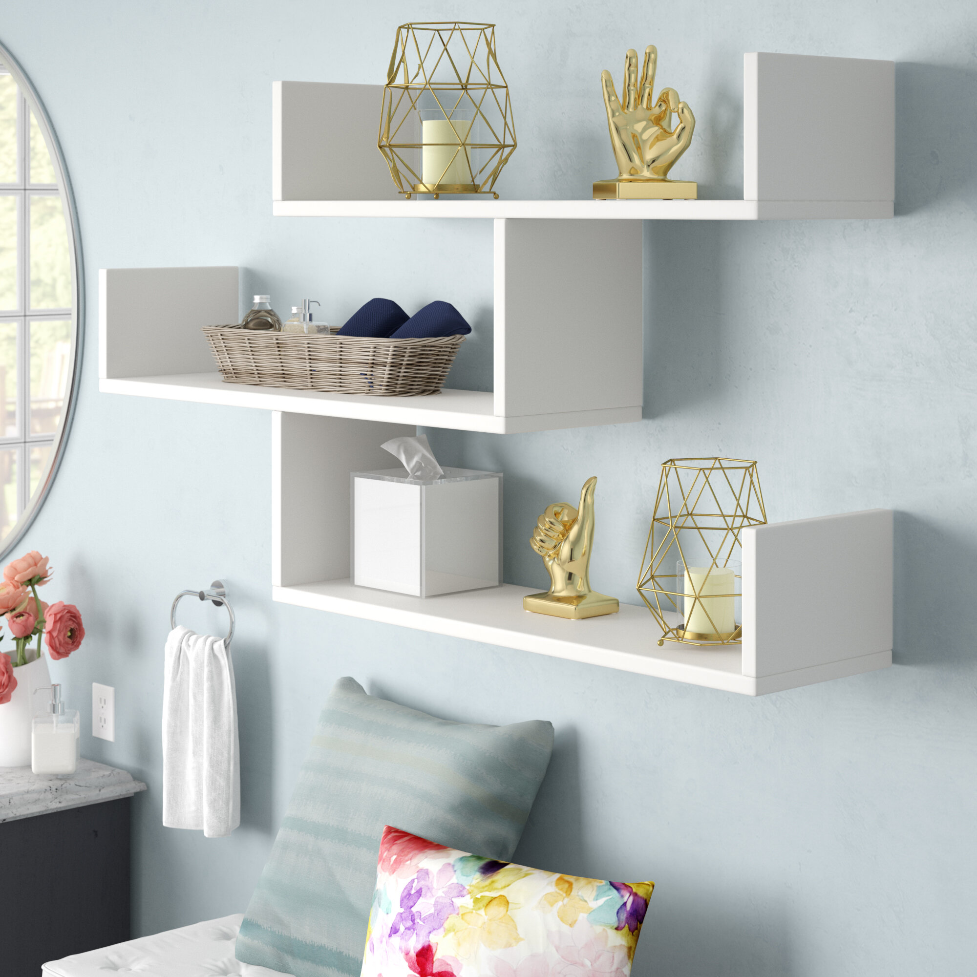White Mckenny Modern Wall Shelf. Ivy Bronx Mckenny Modern Wall Shelf   Reviews   Wayfair