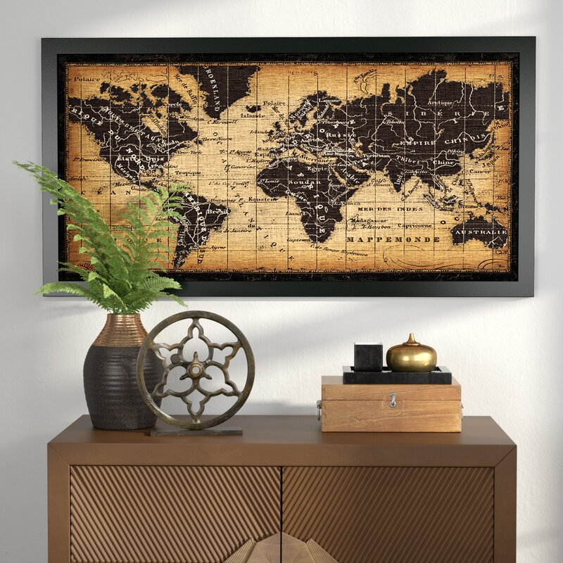World menagerie old world map framed graphic art reviews wayfair old world map framed graphic art gumiabroncs Gallery
