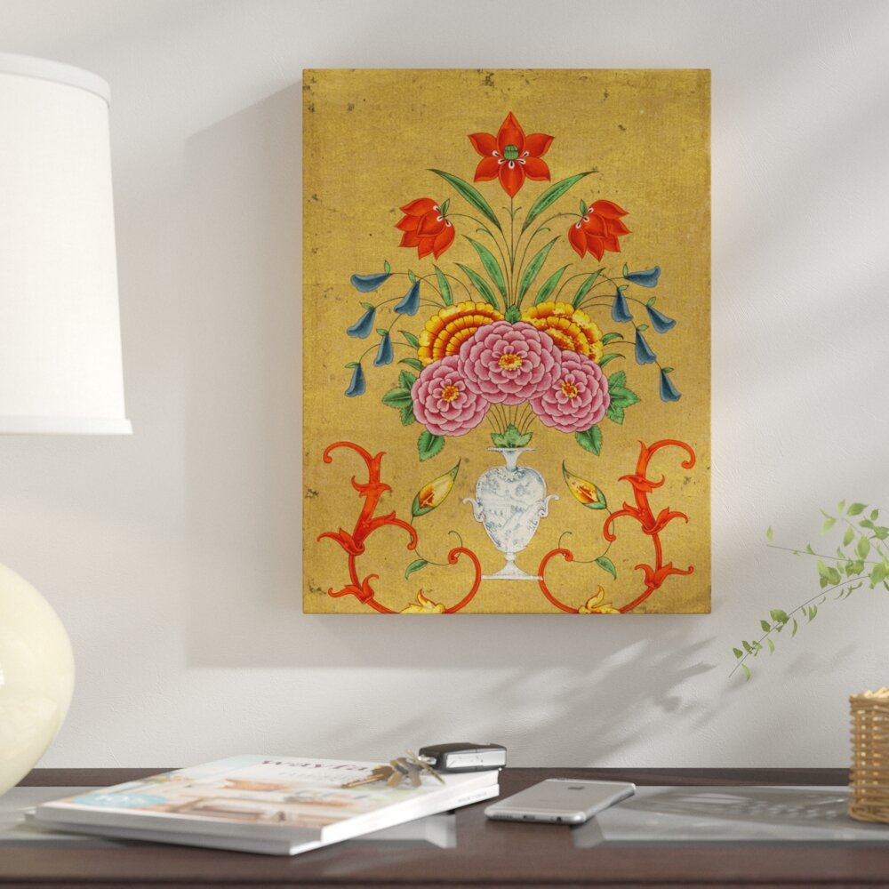 East Urban Home \'An Elaborate Vase and Floral Design on Gold Ground ...