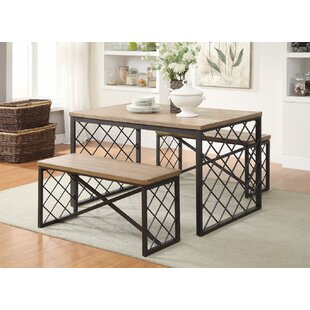 Brucie Wood and Metal 3 Piece Dining Set