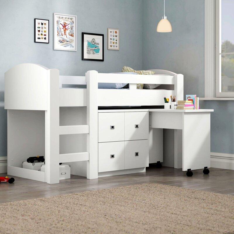 wimex halbhochbett lenny mit schreibtisch und kommode 90. Black Bedroom Furniture Sets. Home Design Ideas