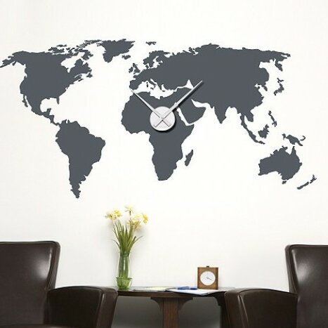 High Quality World Map Wall Clock Wall Decal