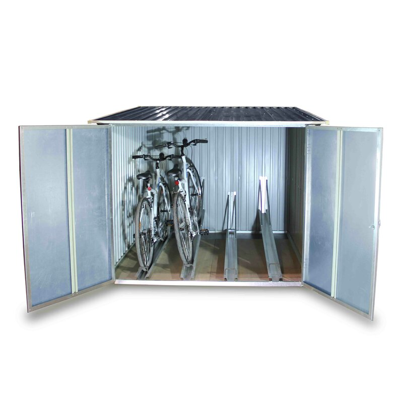 D Metal Lean To Bike Shed