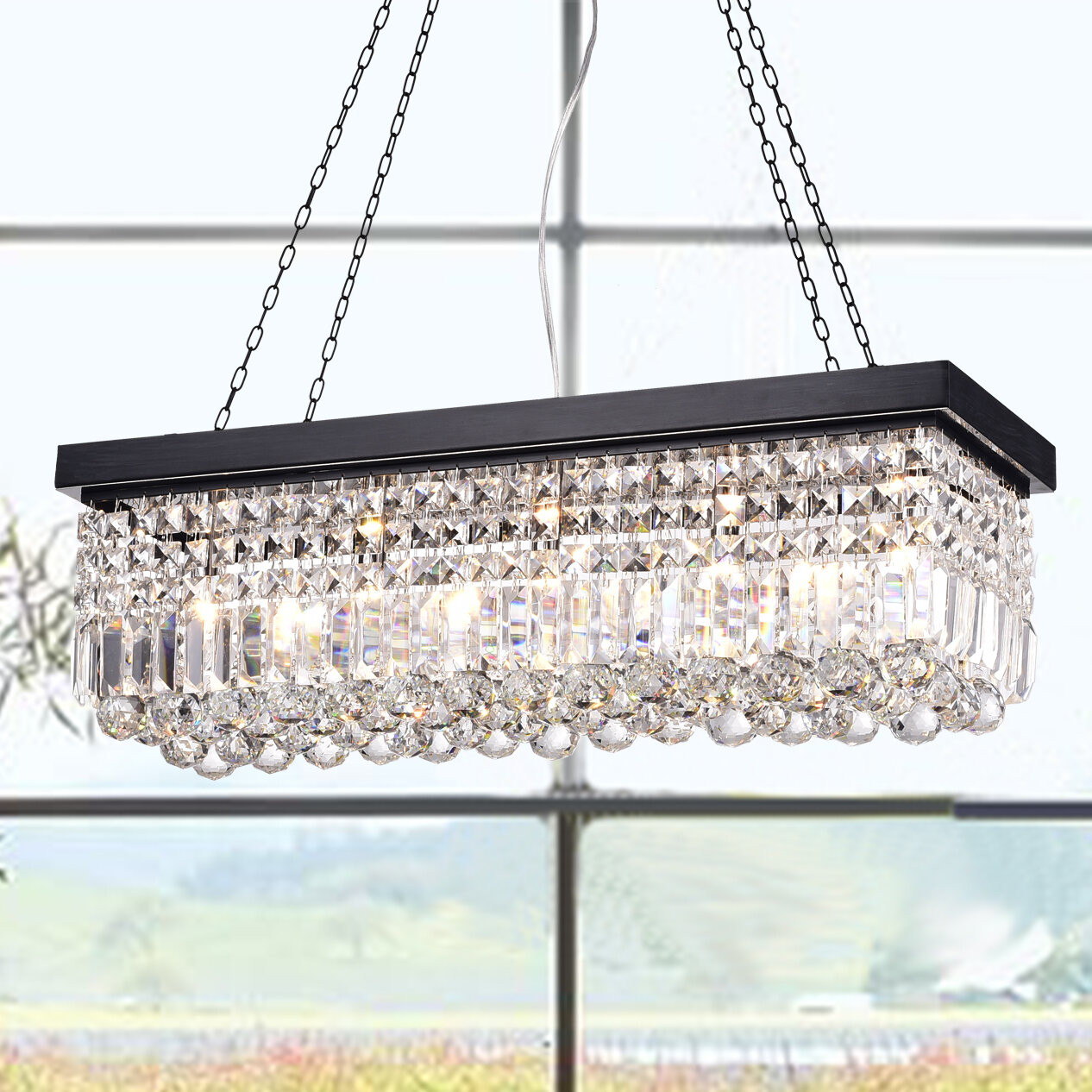 today d wrought black free product inch overstock shipping light fringed garden angelo dangelo chandelier rectangular iron crystal fringe home