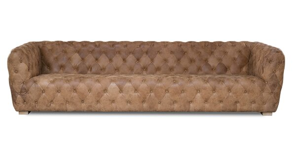 Charmant Extra Long Leather Sofa | Wayfair