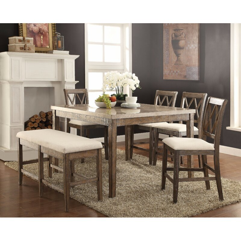 Chantalle Amicable Marble Top Counter Height Dining Table