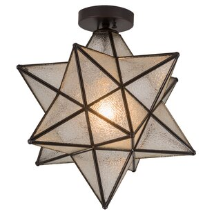 Moravian star ceiling light wayfair rachal moravian star 1 light semi flush mount aloadofball Image collections