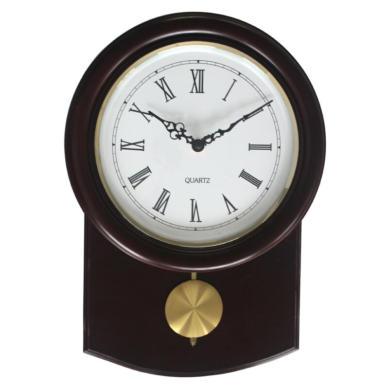 Darby Home Co Round Cherry Pendulum Wall Clock Reviews Wayfair