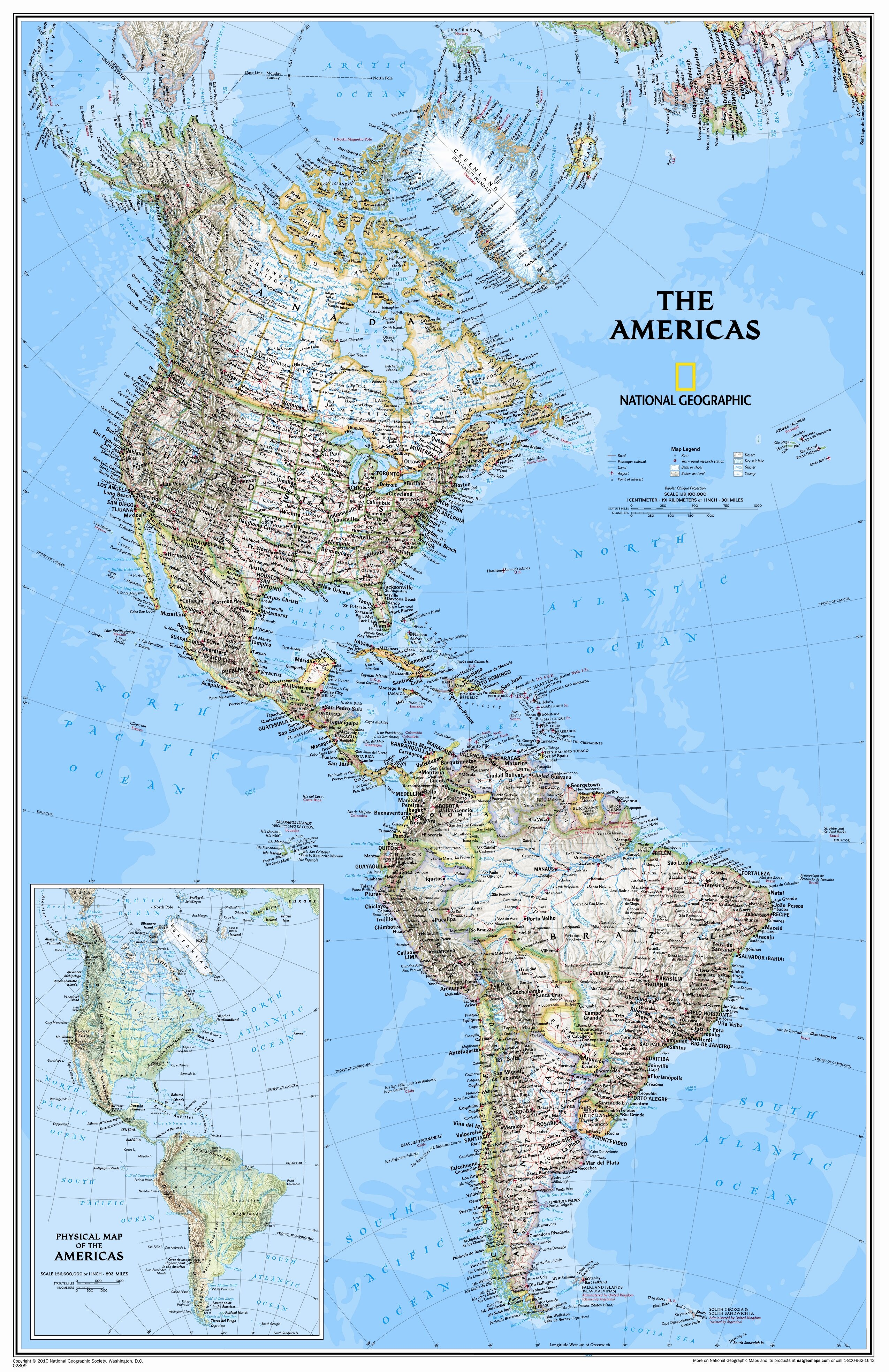 National Geographic Maps The Americas Classic Wall Map | Wayfair.ca