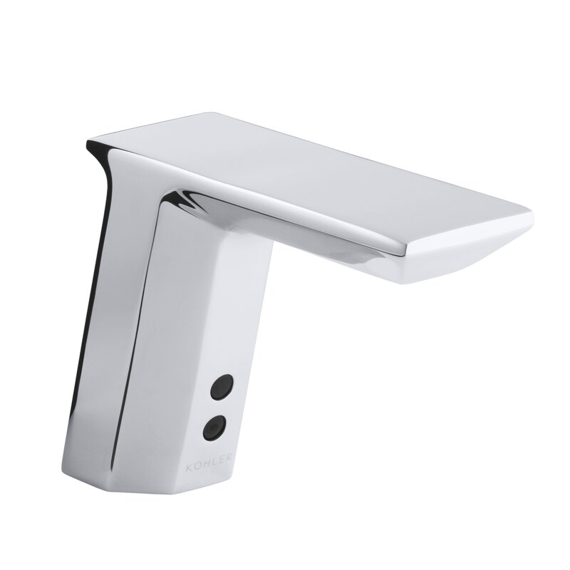 """Geometric Single-Hole Touchless Ac-Powered Commercial Bathroom Sink Faucet with Insight Technology, Temperature Mixer and 6-3/4"""" Spout"""