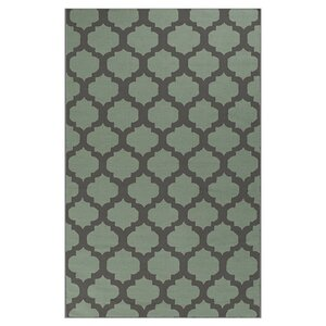 Hackbarth Hand-Woven Charcoal Gray/Pale Green Area Rug