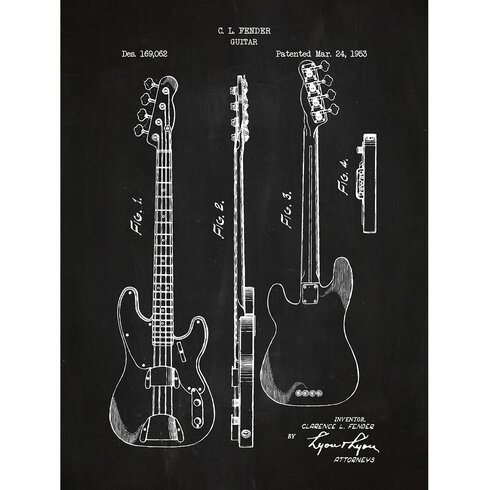 Music And Audio Fender Bass Guitar 1953 Silk Screen Print Graphic Art In Chalkboard