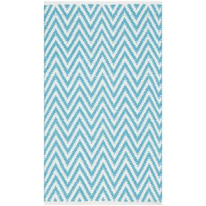 Whitton Hand-Woven Turquoise/Ivory Area Rug