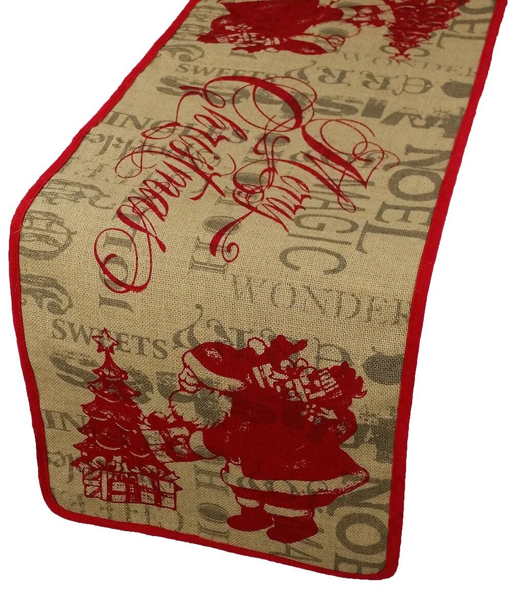 Xia Home Fashions Saint Nick Christmas On Printed Burlap Table Runner U0026  Reviews | Wayfair
