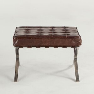 Carson Leather Ottoman by World Interiors