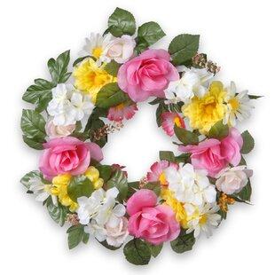 Pink floral wreath wayfair 18 fabric floral wreath mightylinksfo