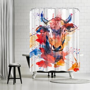 Allison Gray Bull Shower Curtain