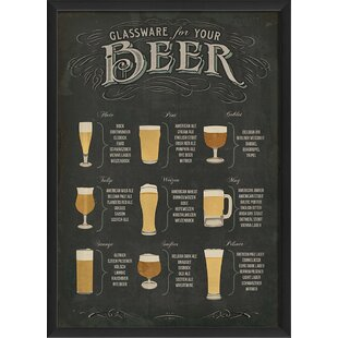 u0027Beer Glasswareu0027 Poster Framed Vintage Advertisement  sc 1 st  Wayfair & Kitchen u0026 Dining Wall Art