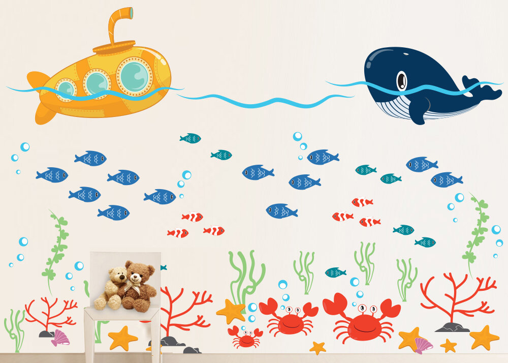 Wall Decal Source Submarine Ocean Whale Fish And Crab Under The
